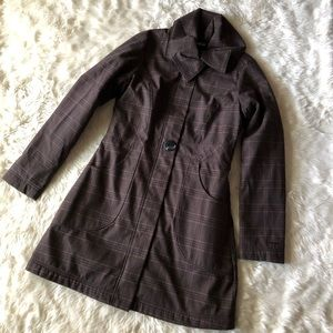 Patagonia Fleece Lined Plaid Trench Coat Jacket